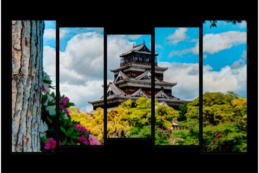 Модульная картина  Японский домик